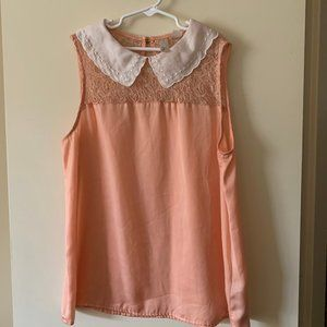 S orange collared blouse